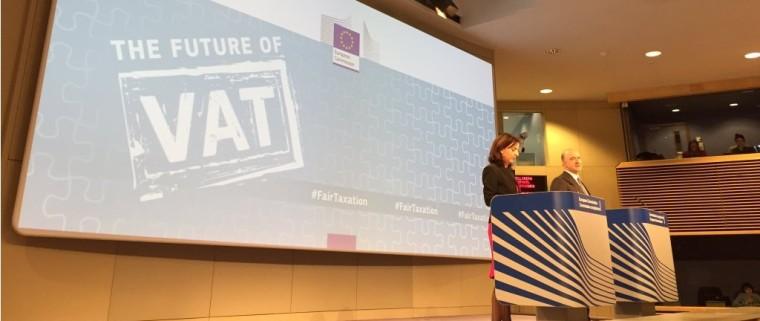 Eurocommissaris Moscovici bij de presentatie van het Action Plan on VAT