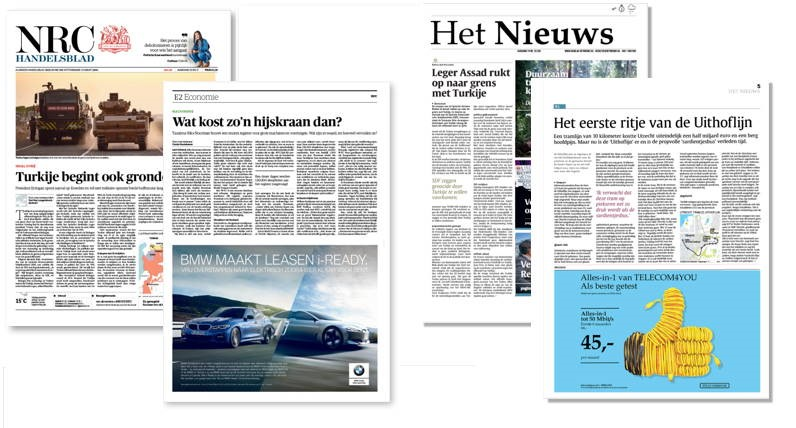 Voorbeeld van NRC Handelsblad en het fictieve dagblad 'Het Nieuws' uit het experiment