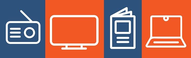 iconen televisie, radio, print en online