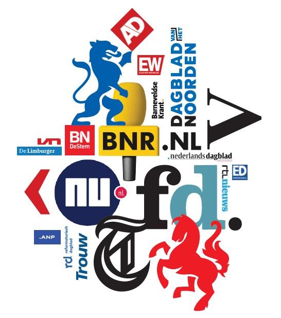 Selectie van de nieuwsmedia die NDP Nieuwsmedia vertegenwoordigt